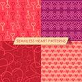 Vector set of four seamless heart patterns