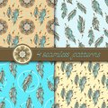 Vector set of four seamless patterns color stylized hand drawn