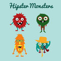 Vector set of freaky cute retro hipster alien monsters illustration eps Royalty Free Stock Image
