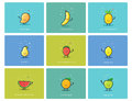 Vector set of fruit icons, cute cartoon food characters, baby meal illustration