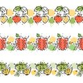 Vector set, fruits seamless pattern. Decorative border. Pomegranate, strawberry, apple with leaves, decorative elements, blots, dr Royalty Free Stock Photo