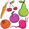 Vector set fruits and vegetables in the style of doodle Stock Image