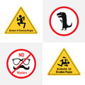 Vector set of the funny road signs for bar or night club. Beware of dancing people, dino with bottle, no hipsters, beware of drunk Royalty Free Stock Photo