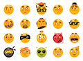 Vector set of funny smileys. Collection of  emoticons Royalty Free Stock Photo