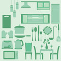 Vector set of furniture in kitchenroom kitchen room on green background Stock Image
