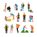 Vector set of garden people icons, isolated on white background Royalty Free Stock Photo