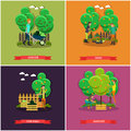 Vector set of gardening, farming concept posters, banners, flat design.