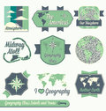 Vector Set: Geography Class Labels Royalty Free Stock Images