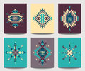 Vector set of geometric abstract colorful flyers. Ethnic design