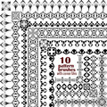 Vector set of geometric borders in ethnic boho style. Collection of pattern brushes with corner tiles inside