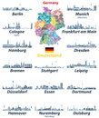 Vector set of Germany largest cities skylines icons in tints of blue color palette. Map and flag of Germany