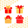 Vector set of gift box symbols red and beige Royalty Free Stock Photography