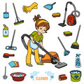 Vector set with girl and objects for cleaning. Colorful items
