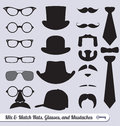 Vector Set: Glasses, Mustaches, Hats and Ties Royalty Free Stock Images