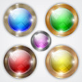 Vector set of glossy colorful round buttons with gold metallic frame Royalty Free Stock Photo
