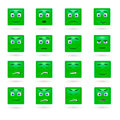 Vector set of glossy emoticons green Royalty Free Stock Photography