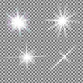 Vector set of glowing light bursts with sparkles on transparent background transparent gradient stars lightning flare magic bright Royalty Free Stock Images