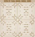 Vector set of gold decorative borders frame horizontal floral elements corners dividers crown page decoration Royalty Free Stock Photos
