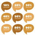 Vector set of gold percent discount speech bubble, sale illustration Royalty Free Stock Photo