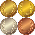 Vector Set of the gold, silver and bronze coins Stock Photo