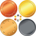 Vector Set of gold, silver, bronze coins. Royalty Free Stock Photo