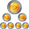 Vector Set of gold and silver button Stock Images