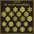 Vector set gold snowflakes on black background gradients Stock Image