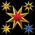 Vector set of golden shiny eight pointed stars volume gold star bulk shining Stock Photos