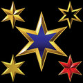 Vector set of golden shiny six pointed stars volume gold star bulk shining Royalty Free Stock Images
