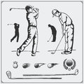 Vector set of golf players and golf elements. Royalty Free Stock Photo