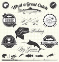 Vector set gone fishing labels collection of retro and icons Royalty Free Stock Photos