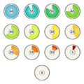 Vector Set of Gradient Color Round Dial Clocks with Numbers.
