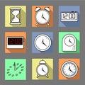 Vector. Set of graphic clocks icons. Sun clock, digital clock, table clock, alarm clock, sand clock. Isolated illustration.
