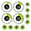 Vector set of green timers Stock Photography