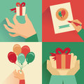 Vector set of greeting card in flat style retro Royalty Free Stock Photo