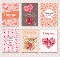 Vector set of greeting cards with hearts, butterflies and flower Royalty Free Stock Photo