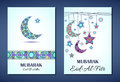 Vector set of greeting cards to Ramadan and Feast of Breaking the Fast