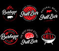 Vector set of grill bar and bbq labels in retro style. Vintage grill restaurant emblems, logo, stickers and design