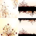 Vector set of grunge floral backgrounds Royalty Free Stock Photo