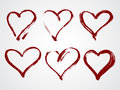 Vector set of grunge frames in the shape of heart. Royalty Free Stock Photo
