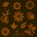 Vector set of grunge leafs and flowers Royalty Free Stock Photography