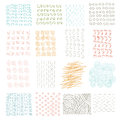 Vector set of grungy hand drawn textures on white background. Lines, circles, crosses, smears, strokes. Elements and