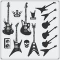 Vector set of guitars. Black and white design. Royalty Free Stock Photo