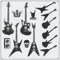Vector set of guitars. Black and white design.