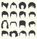 Vector set hair style silhouettes collection of for men Stock Photo