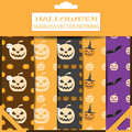 Vector set of Halloween seamless patterns in the package with shadows.