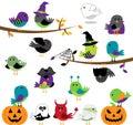 Vector Set of Halloween Themed Cartoon Birds Stock Photography