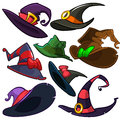 A vector set of Halloween witch hats. Vector witch hat icons isolated on white background Royalty Free Stock Photo
