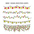 Vector set hand draw christmas lights. festive garland for decor drawing doodle Royalty Free Stock Photo