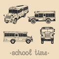 Vector set of hand drawing school bus with text hand written School time phrase. Knowledge day design concept. Royalty Free Stock Photo